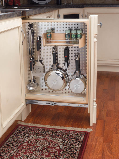Pullout Organizer with Stainless Pegboard Panel