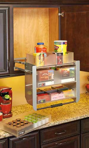 Pull Down Shelving with Stacking Trays