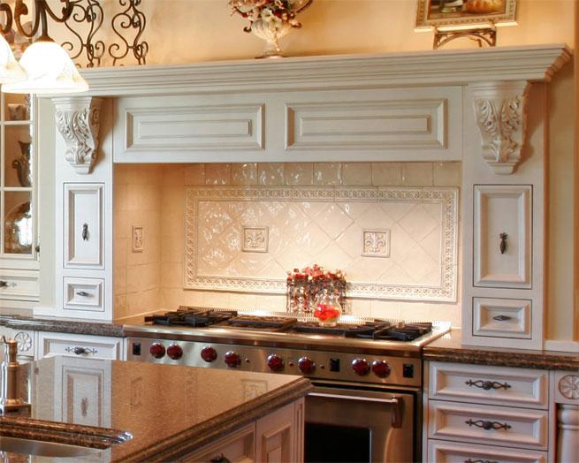 Grand white stove hood