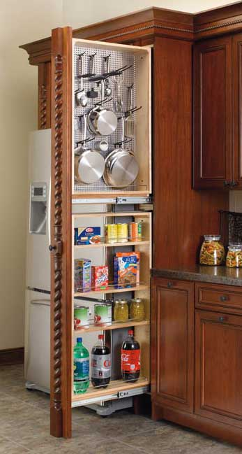 Tall Narrow Spice and Pegboard Pullout